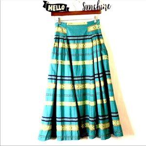 Vintage 80's Bohemian Tribal Print Skirt Pockets